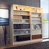 美しく本を照らすLED付き 本を愛する人のための書店風本棚 幅80cm 写真