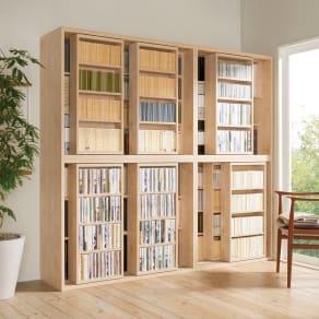 組立不要 たっぷり収納できる天然木調スライド本棚 3重 幅120cm 写真
