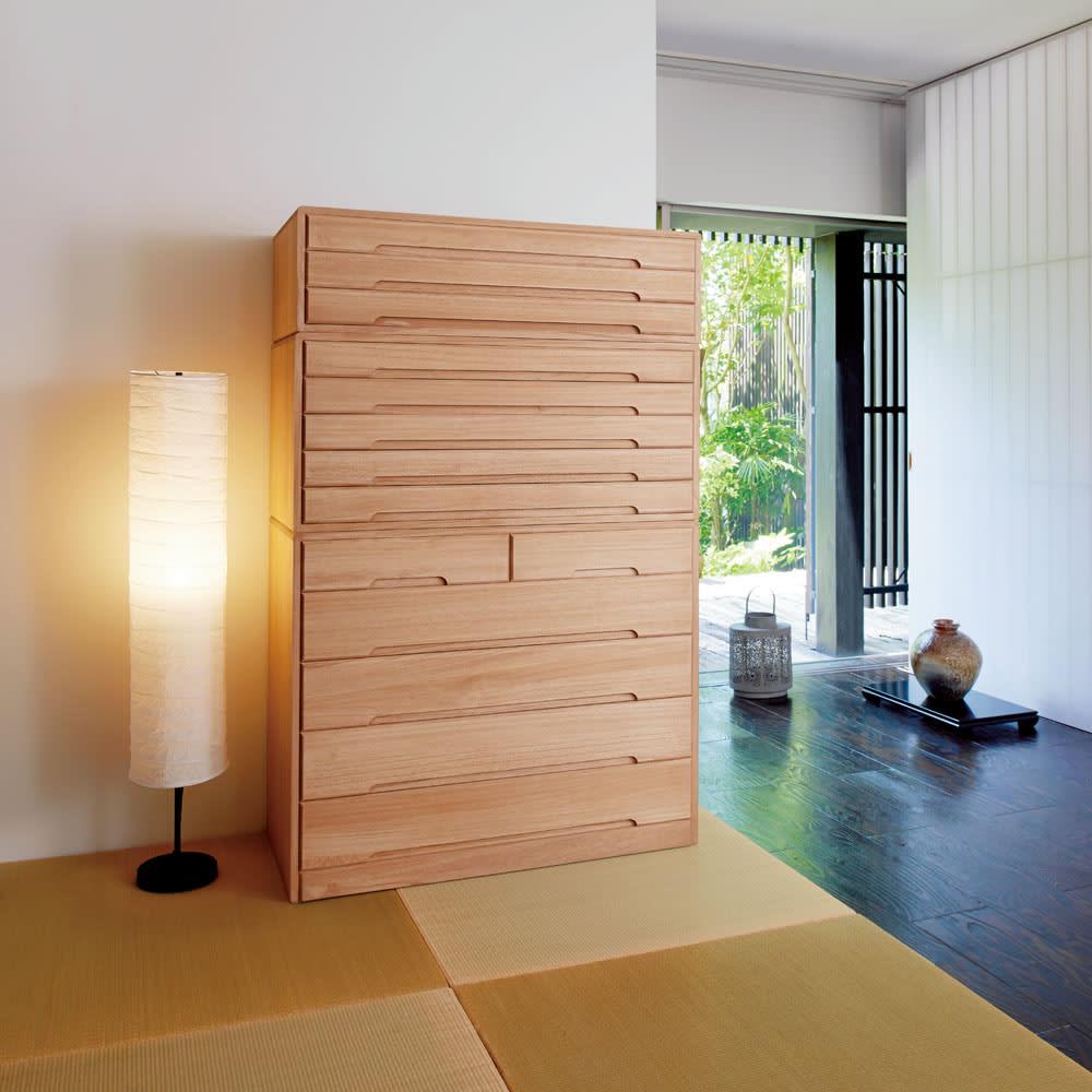 自分仕様に造れる 総桐ユニット箪笥 衣類収納箪笥5段のコーディネート