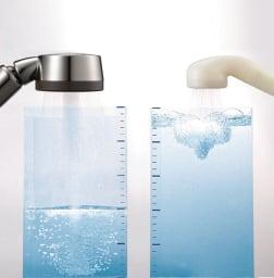 アラミック 手元ストップ節水シャワーヘッド プロ・プレミアム(スカルプケアモデル) 高い節水効果を実現。 同水圧で同時間通水して比較。(メーカー調べ)