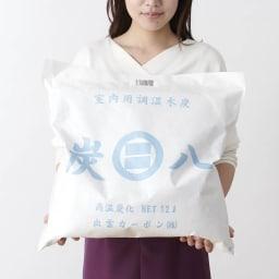 調湿木炭「出雲屋 炭八」 12リットル×4個 特典付き(スマート小袋2個) お届けは12リットルセット(4個組)になります。 手に持った時のサイズ感はこのような感じです。