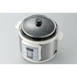 マイコン式電気圧力なべ 容量4.0L 温め直しに便利なガラスフタ付き。