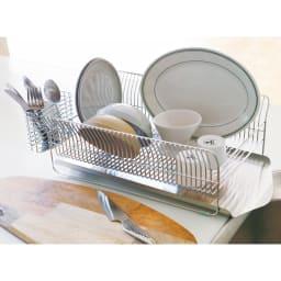 hanauta ハナウタ 皿を縦にも横にも置ける水切り ロング ピンクゴールド 使用例です。お届けするのはピンクゴールドです。