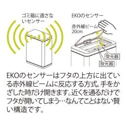 自動で開閉センサー付き ダストビン 縦型30L(保証3年付き) EKO デラックスファントム EKOのセンサーはほかのセンサーと違います!