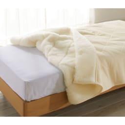 癒しの羊毛【メリノン】 ふかふか毛布シリーズ お得な掛け敷きセット 掛け毛布…(ア)アイボリー