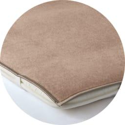 洗える無染色カシミヤ毛布(毛羽部)  ホワイトカシミヤ使用お得な掛け敷きセット 4隅ゴムで着脱簡単。敷布団にも使えます ※画像はブラウンカシミヤ敷き毛布です。お届けするのはホワイトカシミヤ敷き毛布です
