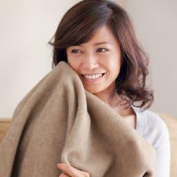 洗える 無染色ブラウンカシミヤ毛布(毛羽部) ハーフケット モデル・タレント 北澤恵理さん モデルとして活躍していた1995年、元サッカー日本代表で現在は解説者の北澤豪さんと結婚。2男1女を育てる多忙なママ。