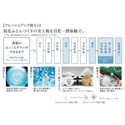 品質へのこだわり 【西川】 マザーグース羽毛布団 羽毛を磨き上げる、西川のフレッシュアップ加工(R)