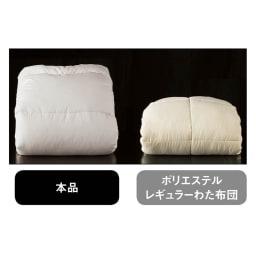 エアーフレイク(R)掛け布団  【驚きの軽さとボリューム】一般的なポリエステルわたと比較した場合、同じ重さでもエアーフレイク(R)はこんなにふっくらボリュームたっぷり。驚くほどの暖かさを生みます。
