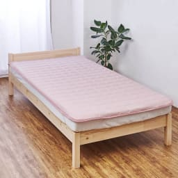 発熱するコットン「デオモイス」寝具シリーズ フランネルニットの敷きパッド (イ)オールドローズ