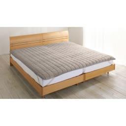 発熱するコットン「デオモイス」寝具シリーズ フランネルニットの敷きパッド (ア)グレージュ ※画像はファミリーサイズ(幅200cm)です。