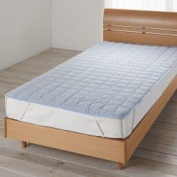 発熱するコットン「デオモイス」寝具シリーズ フランネルニットの敷きパッド (エ)ブルー