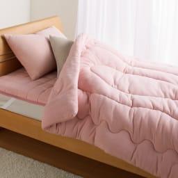 発熱するコットン「デオモイス」寝具シリーズ フランネルニットの敷きパッド ファミリー【幅200・240cm】 (イ)オールドローズ ※お届けは敷きパッド(ファミリーサイズ)です。※写真はシングルサイズです。