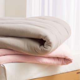 発熱するコットン「デオモイス」寝具シリーズ フランネルニットの掛け布団 上から(ア)グレージュ (イ)オールドローズ