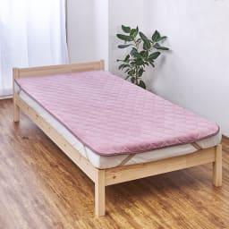 ロマンス岩盤浴シリーズ わた入り敷きパッド シングル (ウ)ピンク