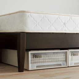 国産ボンネルマットレスベッド 長さ215cm(マットレス200cm) ベッド下に高さ18cmのFitsケースが収まります。