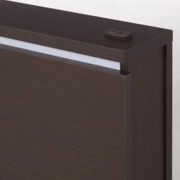 照明付きステージすのこベッド マットレス付き(国産ポケットコイルマットレス付き) (イ)ダークブラウン
