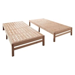 国産ひのき天然木すのこシングルベッド 棚なし お得な2点セット(フレームのみ) 付属の連結金具を外せば1台ごとにご利用もできます。