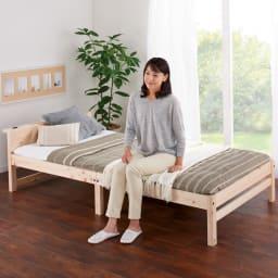 国産ひのき天然木すのこシングルベッド 棚あり お得な2点セット(フレームのみ) 使い慣れた布団を敷いて、立ち座りがラクな高さに。