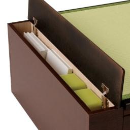 跳ね上げ式深型収納畳ベッド 棚ヘッド付き(高さ84cm) ロングタイプ収納部には本や雑誌などが入る収納スペースがあります。
