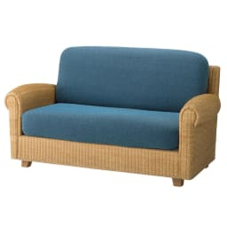 スペイン製はっ水カバー〈サマンサ〉座面・背もたれ兼用カバー(1枚) (エ)ブルー系 ※写真は2人掛け用です。 ※写真は2人掛け用を2枚使用。