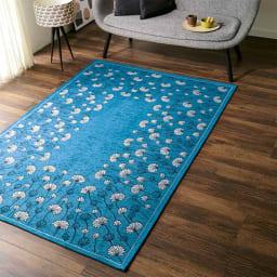 イタリア製ジャカード織りラグ〈カリーナ〉  (イ)ブルー 約140×200cm
