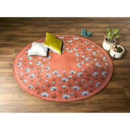 イタリア製ジャカード織りラグ〈カリーナ〉円形 (ア)オレンジ