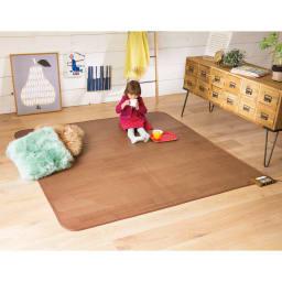 フローリング調プリント防水ホットカーペット(2畳/3畳) (ア)ブラウン うっかりこぼしても、さっと拭くだけ!子供部屋にも。