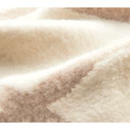 ウール・コットン「ジオメトリック」 こたつ掛け毛布シリーズ こたつ掛け毛布 [素材アップ](ウ)ベージュ