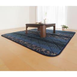 日本製ふっくら正方形こたつ掛け敷きセット (ア)ブルー こたつ敷き・正方形