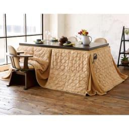 【長方形】幅135cm奥行80cm ダイニングこたつテーブル【高さ調節できます】 コーディネート例 ※テーブルサイズは150×90cm