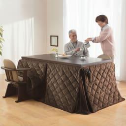 【長方形・大】幅150cm奥行90cm ダイニングこたつテーブル【高さ調節できます】 使用イメージ テーブル高さ70cm(継ぎ足10cm+10cm+5cm使用時):通常のダイニングテーブルの高さです。