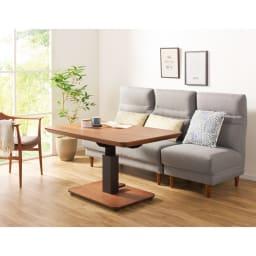昇降式ダイニングこたつテーブル 105×75cm (ア)ダークブラウン(テーブル高さ71cm時) 布団をかけずにダイニングテーブルとして使用しても。 ※写真は120×80cmタイプです。