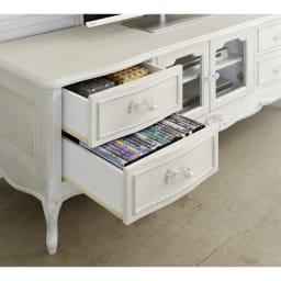 シャビーシック ホワイト フレンチ収納家具シリーズ テレビ台 幅120cm 引出収納部には雑貨の目かくし収納にぴったり。