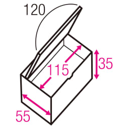 跳ね上げ式ユニット畳 お得なセット ヘリ無しミニ4.5畳セット 高さ45cm 寸法図(単位:cm) ※赤文字は内寸、黒文字は外寸表示です。 収納部は仕切りなしでたっぷり入れられ、ゴルフバッグのような長尺物も収まります。