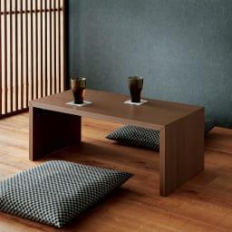 折りたたみできるスマートスタイルテーブル 120×59cm コーディネート例(イ)ダークブラウン(木目) ※写真は89×44cmタイプです。