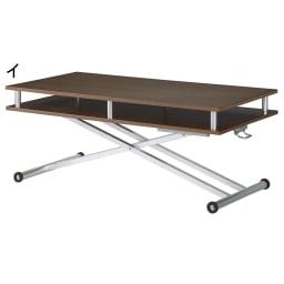 棚付き昇降式テーブル 幅120cm (イ)ウォールナット