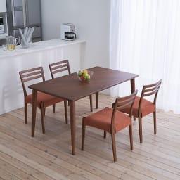 布団のいらないこたつダイニング こたつテーブル・幅140cm (イ)ダークブラウン コーディネート例 ※お届けは「ダイニングこたつテーブル幅140cm」のみです。チェアは別売りです。