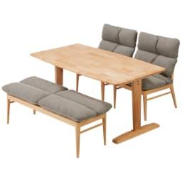 包まれる座り心地のリビングダイニング ダイニングセット お得な4点セット テーブル+チェア2脚組+ベンチ (ア)ナチュラル/グレー