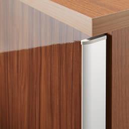 大型パントリーシリーズ スライド収納庫 板扉 幅148cm (イ)ダークブラウン 前面は木目調の光沢仕上げ。