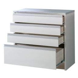 ステンレストップ間仕切りカウンター 幅90cm 引き出しは全段ストッパー式のレールを使用しています。