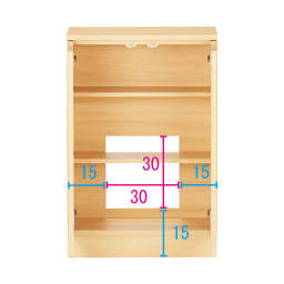 配線すっきりカウンター下収納庫 2枚扉 《幅60cm・奥行25cm・高さ77~103cm/高さ1cm単位オーダー》 (イ)ライトアッシュ コンセントを生かす工夫 コンセントの高さ部分に背板がないので、壁にぴったり付けてもコンセントが使えます。 ※赤文字は内寸 青字は外寸(単位:cm)