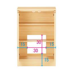 配線すっきりカウンター下収納庫 2枚扉 《幅60cm・奥行30cm・高さ77~103cm/高さ1cm単位オーダー》 (イ)ライトアッシュ コンセントを生かす工夫 コンセントの高さ部分に背板がないので、壁にぴったり付けてもコンセントが使えます。 ※赤文字は内寸 青字は外寸(単位:cm)