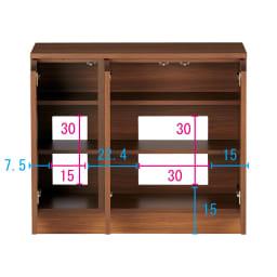 配線すっきりカウンター下収納庫 3枚扉 《幅90cm・奥行20cm・高さ77~103cm/高さ1cm単位オーダー》 (ウ)ウォルナット コンセントを生かす工夫 コンセントの高さ部分に背板がないので、壁にぴったり付けてもコンセントが使えます。 ※赤文字は内寸 青字は外寸(単位:cm)