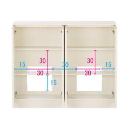 配線すっきりカウンター下収納庫 4枚扉 《幅120cm・奥行20cm・高さ77~103cm/高さ1cm単位オーダー》 (ア)ホワイト コンセントを生かす工夫 コンセントの高さ部分に背板がないので、壁にぴったり付けてもコンセントが使えます。 ※赤文字は内寸 青字は外寸(単位:cm)