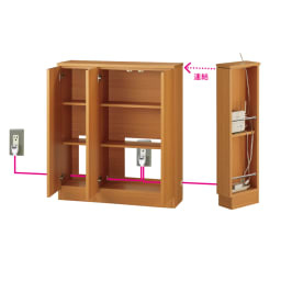 配線すっきりカウンター下収納庫 4枚扉 《幅120cm・奥行25cm・高さ77~103cm/高さ1cm単位オーダー》 (オ)ナチュラルオーク 配線すっきりのヒミツ コード穴が左右に開いているので、並べて使っても配線が可能。コード類を露出させないので、ホコリもたまりにくく、すっきりとした空間に。