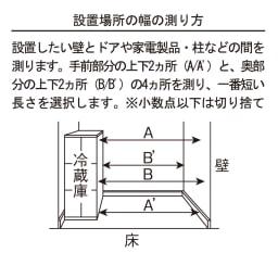 配線すっきりカウンター下収納庫 1枚扉 《幅25~45cm・奥行35cm・高さ77~103cm/幅・高さ1cm単位オーダー》 設置場所の幅の測り方