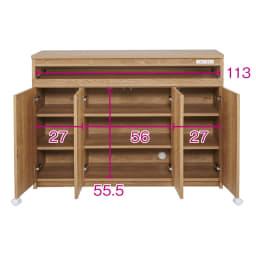スライドテーブル付きカウンター下収納庫 幅120cm (イ)ブラウン ※赤文字は内寸(単位:cm)収納部奥行内寸=32cm、スライド部奥行内寸=30cm