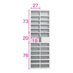 棚板たっぷりラクラク引き戸食器棚 幅60cm・奥行29cm (ア)ホワイト ※赤文字は内寸(単位:cm)