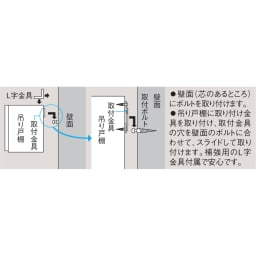 光沢仕上げ吊り戸棚 扉タイプ 幅90cm 吊り戸棚の設置方法